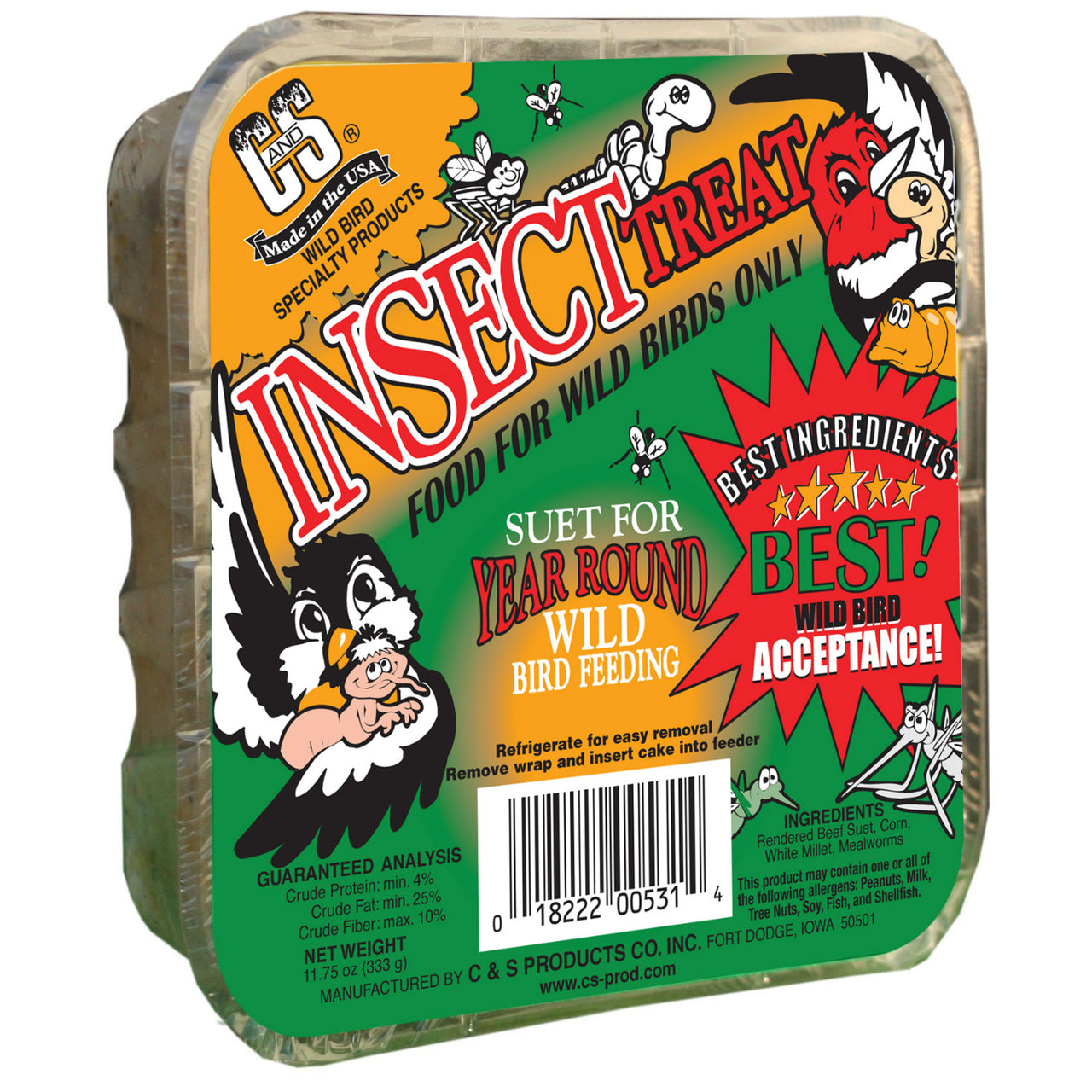 C&S® 12531 Insect Treat Suet Cake for Wild Birds, 11.75 Oz
