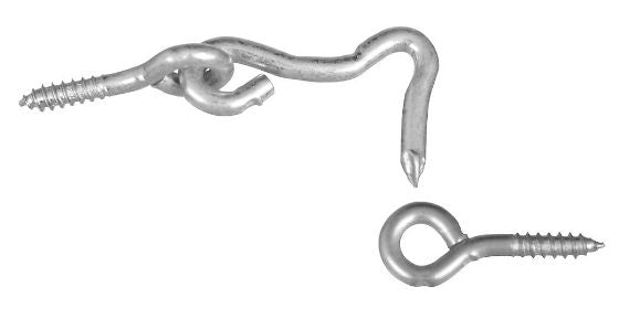 "National Hardware® N117-820 Steel Hook & Eye, 1"", Zinc Plated, 2-Pack"