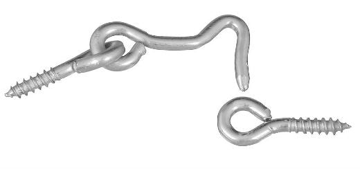 "National Hardware® N117-853 Steel Hook & Eye, 1-1/2"", Zinc Plated, 2-Pack"