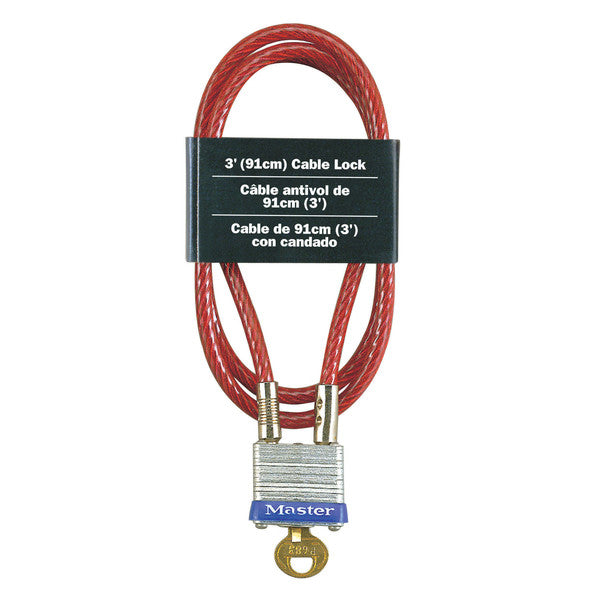 Master Lock 719-D 4-Pin Tumbler Padlock with Vinyl Coated Cable, 3' x 1-1/8""