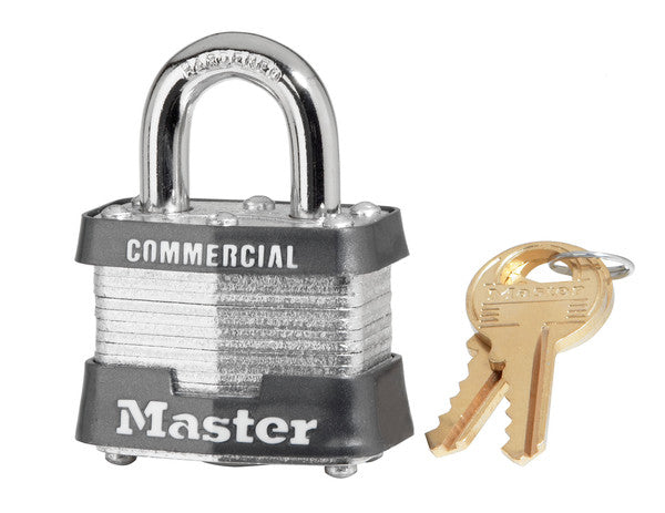 "Master Lock 3KA Laminated Steel Padlock with 3/4"" Shackle, 1-9/16"" Wide"