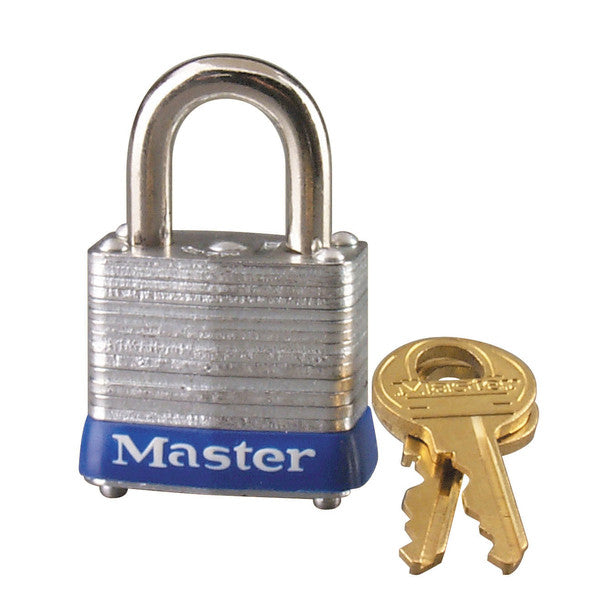 "Master Lock 7KA Laminated Steel Padlock with 9/16"" Long Shackle, 1-1/8"" Wide"