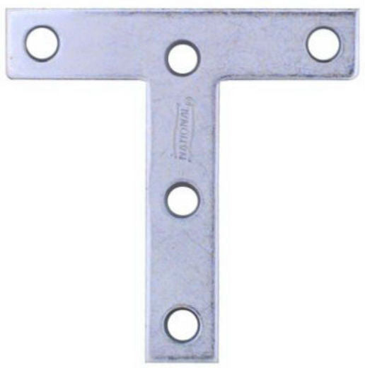 "National Hardware® N113-704 T-Plate with Screws, 3"" x 3"", Zinc, 2-Pack"