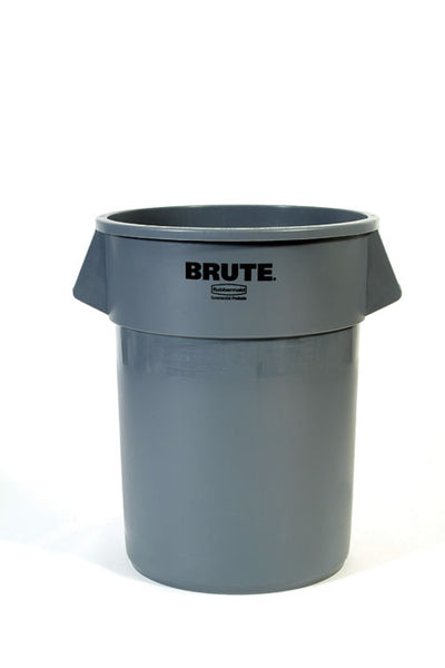 Rubbermaid® 2655-00-GRAY Brute® Plastic Trash Can without Lid, 55 Gallon, Gray