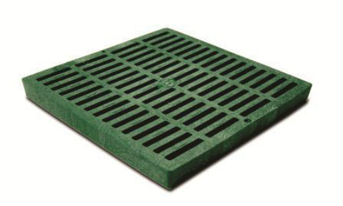 "NDS 1212 Polyolefin Square Grate, 12"" x 12"", Green"
