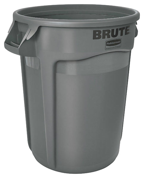 Rubbermaid® 2610-00-GRAY Brute® Plastic Trash Can without Lid, Gray, 10 Gallon