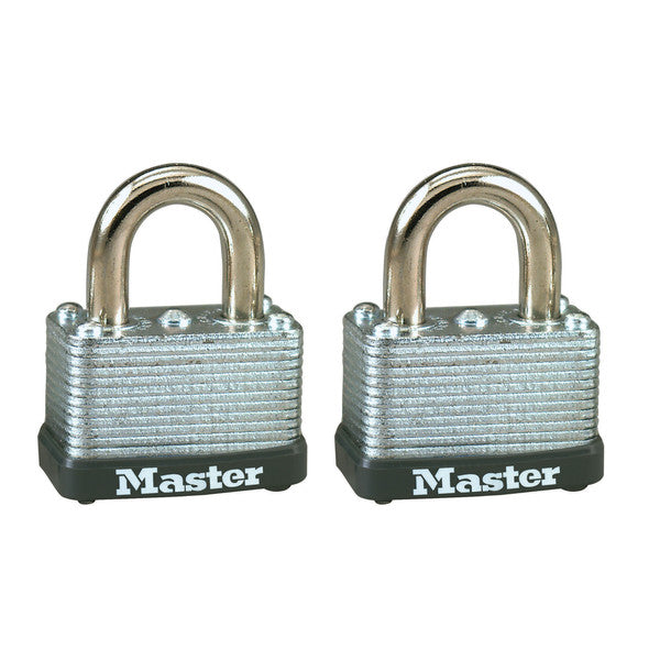 "Master Lock 22T Warded Steel Laminated Padlock, 1-1/2"", 2-Pack"