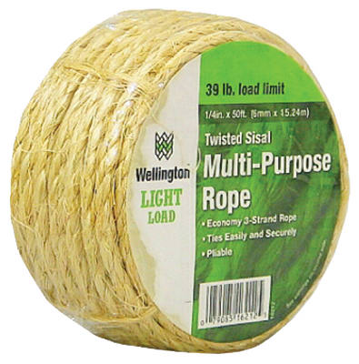 "Wellington 16212 Twisted Sisal Multi Purpose Rope, 1/4"" x 50'"