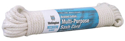 "Wellington 10225 Southgate Braided Cotton Multi Purpose Sash Cord, 1/4"" x 50'"