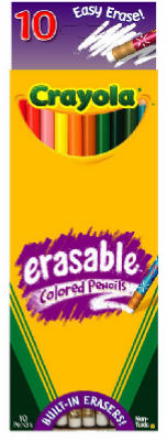 Crayola 68-4410 Erasable Colored Pencils, Multi Bright Colors, 10-Count