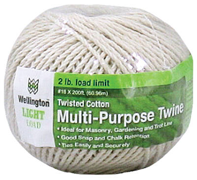 Wellington 10305 Puritan Twisted Cotton Cable Cord, #18 x 200', Natural