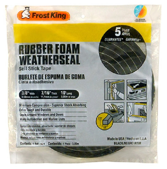 "Frost King R738H Rubber Foam Weather-Strip Tape, 3/8"" x 7/16"", Black"