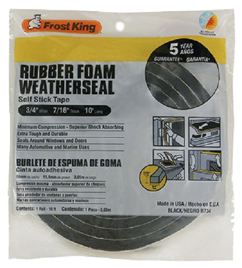 "Frost King R734H Rubber Foam Weather-Strip Tape, 3/4"" x 7/16"", Black"
