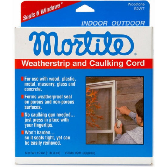 Frost King B2WT Mortite WeatherStrip & Caulking Cord, 90', Woodtone