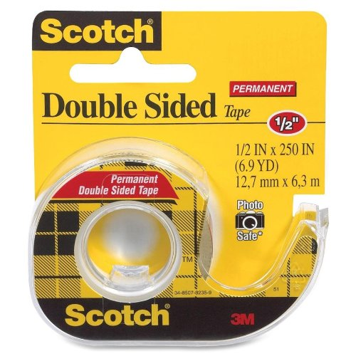"Scotch 136 Double Sided Tape with Dispenser 1/2"" x 250"", Transparent"