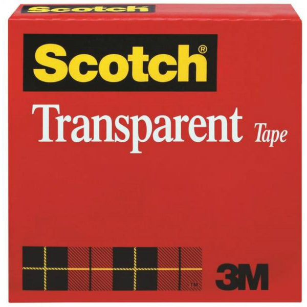 "Scotch 600 Transparent Tape Refill Roll, 1/2"" x 72 Yards, Clear"