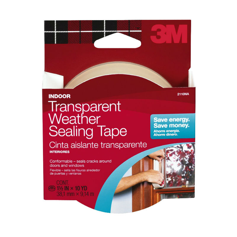 "3M 2110 Indoor Transparent Weather Sealing Tape, 1-1/2"" x 30'"