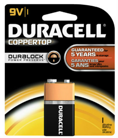 Duracell® MN1604B1Z Copper Top Alkaline Battery, 9 Volt