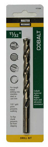 "Master Mechanic 197635 Jobber Length Cobalt Drill Bit, 9/32"" x 4-1/4"", Steel"