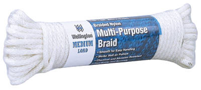 "Wellington 10115 Solid Braided Nylon Cord, 1/4"" x 50', Silvery White"