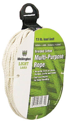 "Wellington 15632 Braided Cotton Multi Purpose Cord, # 9/64"" x 48', Natural"