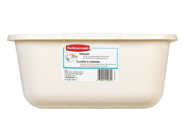 Rubbermaid 2951-AR-BISQUE Microban Rectangular Dishpan, Bisque, 11.5 Qt