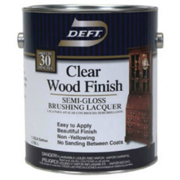 Deft® DFT011/01 Clear Wood Finish Brushing Lacquer, 1-Gallon, Semi-Gloss