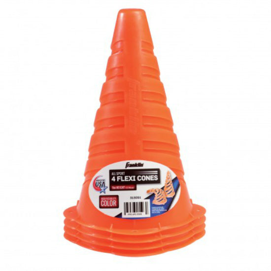 "Franklin 3130S1 Flexible Marker Cones with High Visibility Color, 9"", 4-Pack"