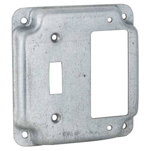 RACO® 814C Flat Cover Square Single Toggle & Ground Fault Box Cover, 4""