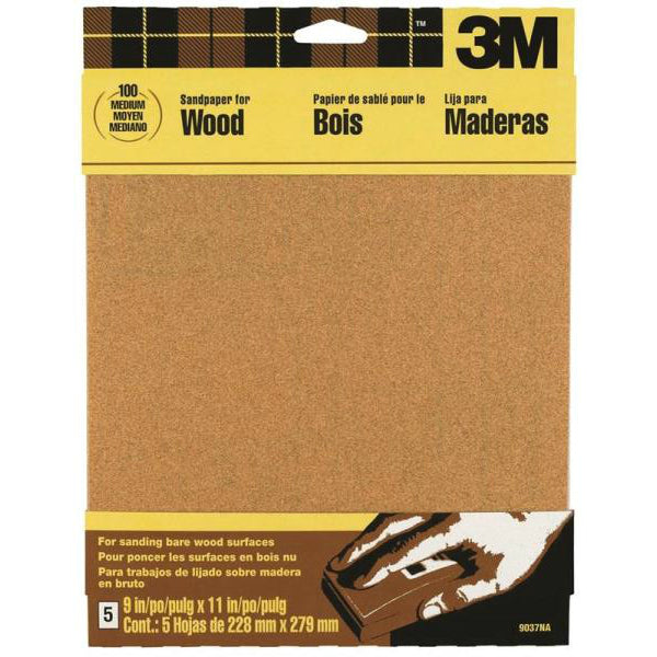 "3M 9040 Garnet Sandpaper, 9"" x 11"", Assorted Grit, 4-Pack"