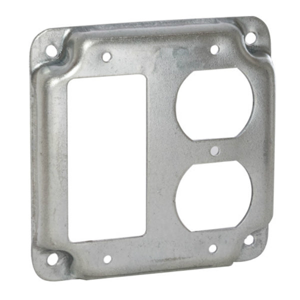 RACO® 915C Square Exposed Work 1-GFCI and 1-Duplex Receptacle , 4""