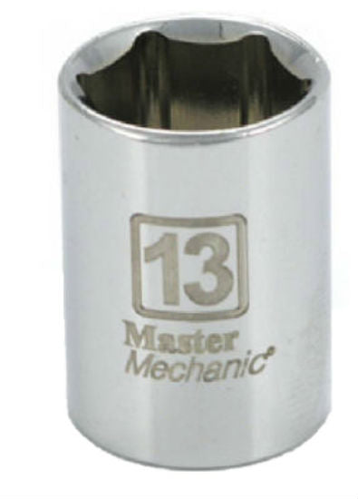 "Master Mechanic 213234 6-Point Shallow Socket, 1/4"" Drive, 13 mm, Steel"