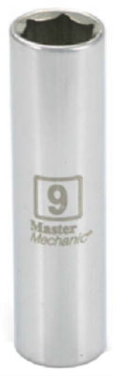 "Master Mechanic 213634 6-Point Deep Well Socket, 1/4"" Drive, 9 mm, Steel"