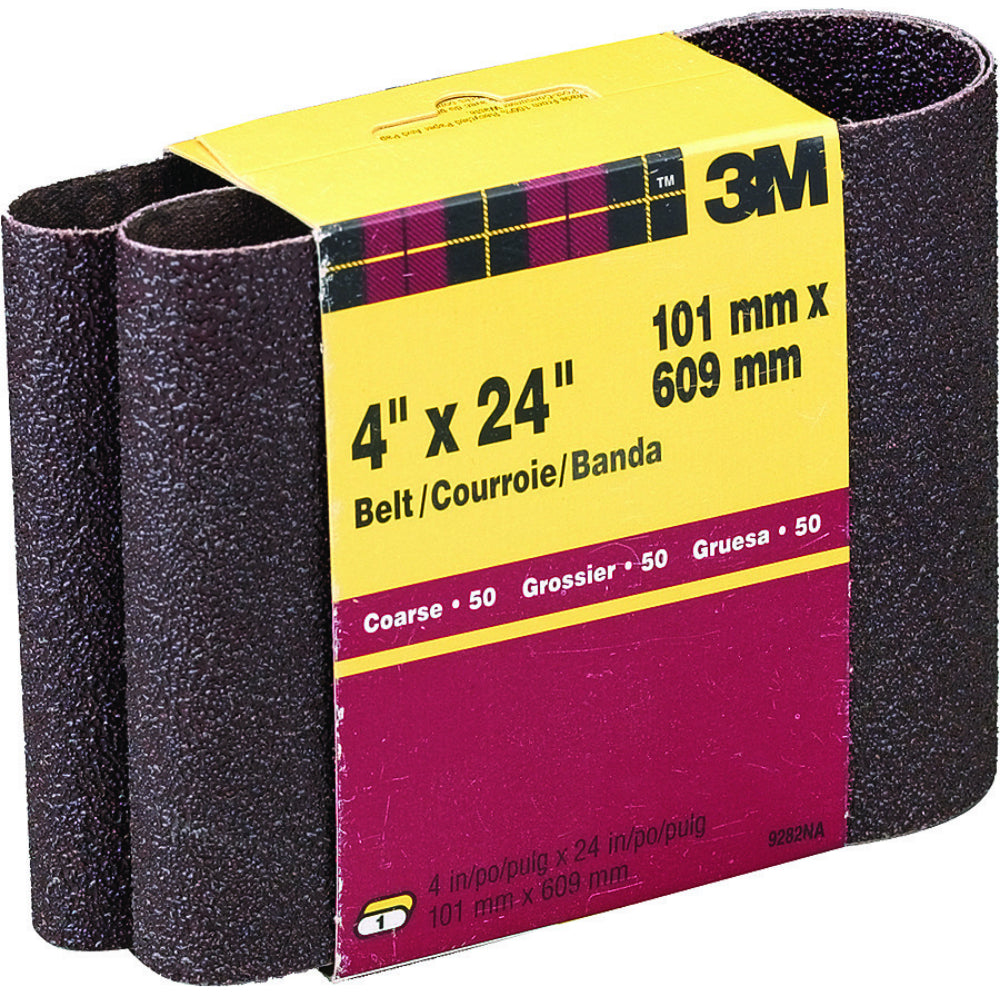 "3M 9282 Heavy Duty Resin Bond Power Sanding Belt, 4"" x 24"", Coarse 50 Grit"