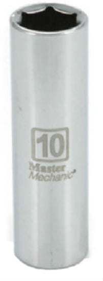 "Master Mechanic 213645 6-Point Deep Well Socket, 1/4"" Drive, 10 mm, Steel"