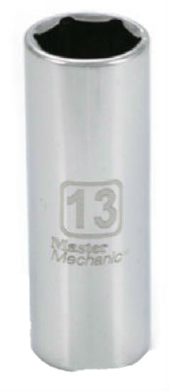 "Master Mechanic 213663 6-Point Deep Well Socket, 1/4"" Drive, 13 mm, Steel"