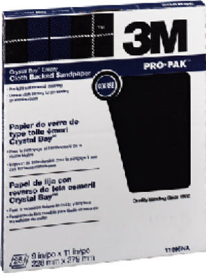 "3M 11696 Crystal Bay Emery Cloth Sandpaper, 9"" x 11"", Coarse Grit, 25-Count"