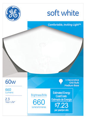 GE Lighting 49780 Medium Base G40 Globe Light Bulb, Soft White, 60-Watt