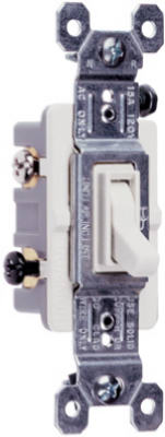 Pass & Seymour Standard 3 Way Toggle Switch, 15A 120V, White
