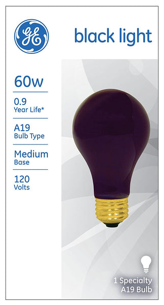 GE Lighting 25905 Medium Base Incandescent A19 Black Light Bulb, 60W