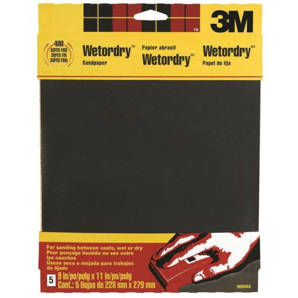 "3M 9085 Wet/Dry Sandpaper, 9"" x 11"", Super Fine 400 Grit, 5-Pack"