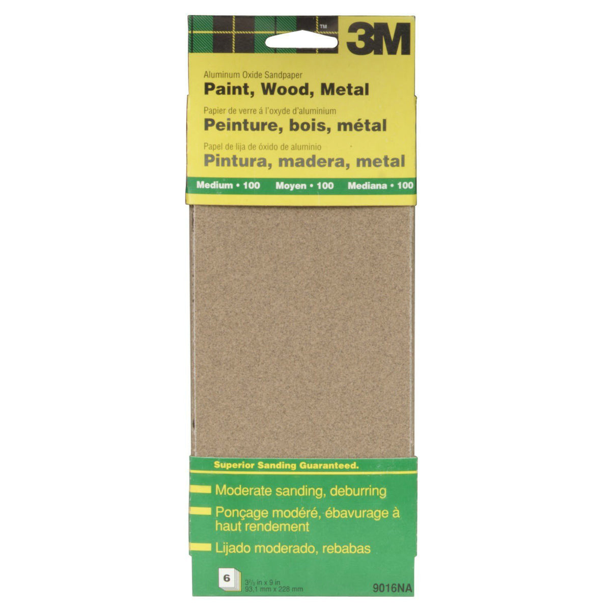 "3M 9016 Aluminum Oxide Sandpaper Sheet, 3-2/3"" x 9"", Medium 100 Grit, 6-Pack"