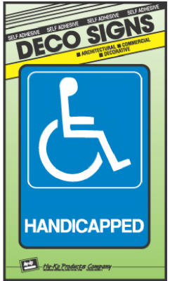 "Hy-Ko D-17 Heavy-Duty Plastic Handicapped Deco Sign, 5"" x 7"""