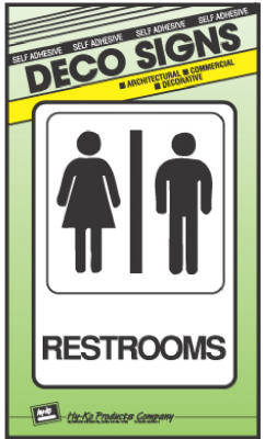 "Hy-Ko D-23 Heavy-Duty Plastic Restrooms Sign, 5"" x 7"""