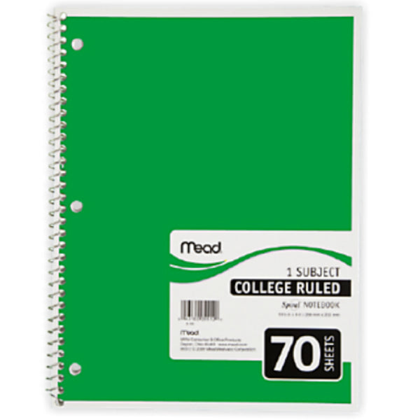 "Mead® 05512 College Ruled Spiral® Notebook, White Paper, 10.5"" x 8"", 70-Sheets"
