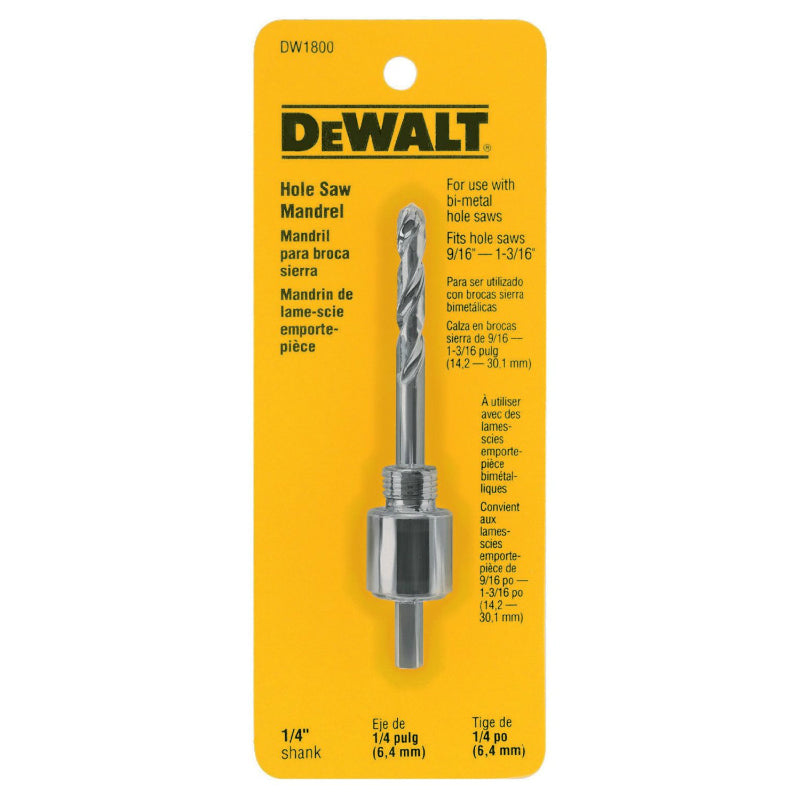 "DeWalt® DW1800 Hole Saw Mandrel, Fits 9/16"" to 1-3/16"", 1/4"""