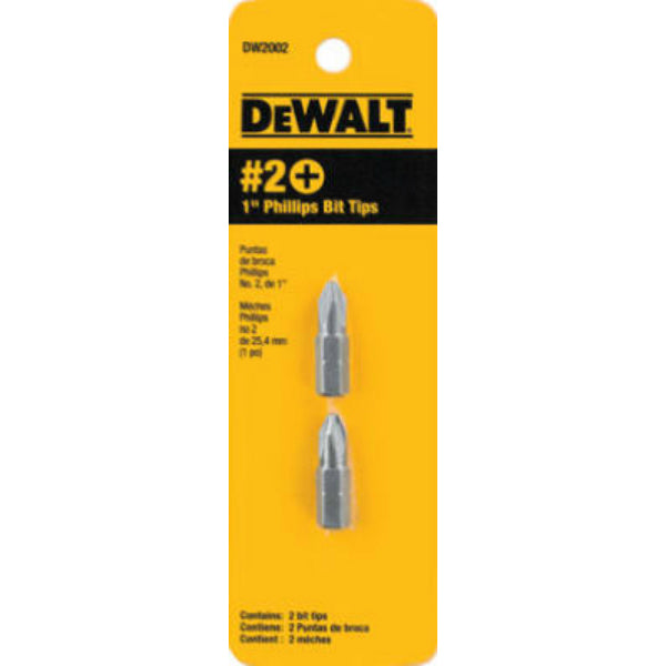 "DeWalt® DW2002 High Performance Screwdriver Bit Tip, #2 Phillips, 1"", 2-Pack"