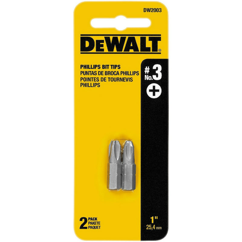 "DeWalt® DW2003 Phillips Insert Bit Tips, #3, 1"", 2-Pack"