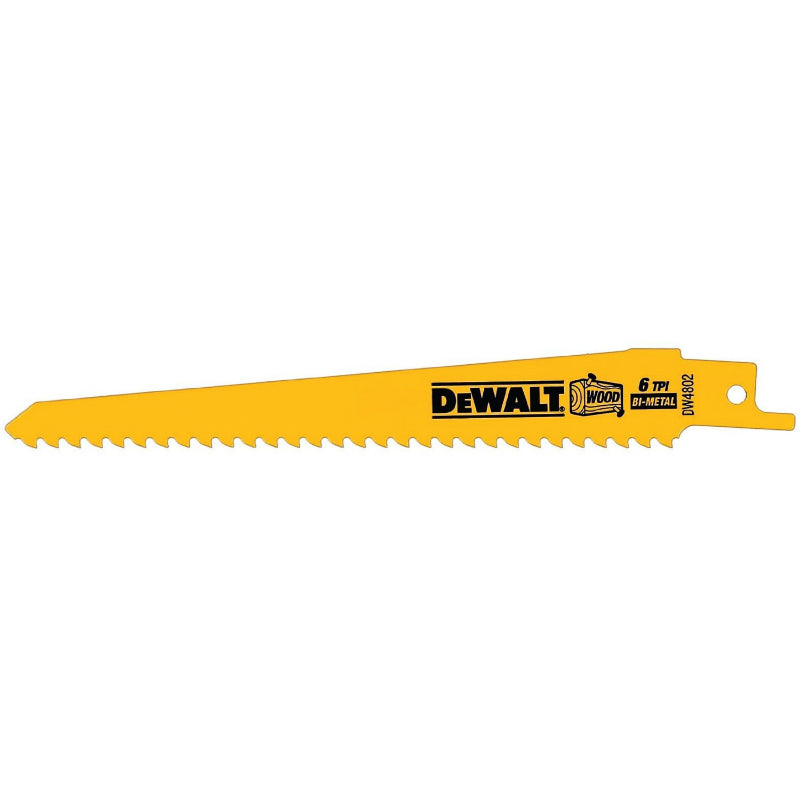 "DeWalt® DW4802 Taper Back Bi-Metal Reciprocating Saw Blades, 6 TPI, 6"", 5-Pack"