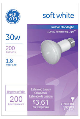 GE Lighting 14891 Reflector R20 Indoor Floodlight Bulb, 30-Watt, Soft White